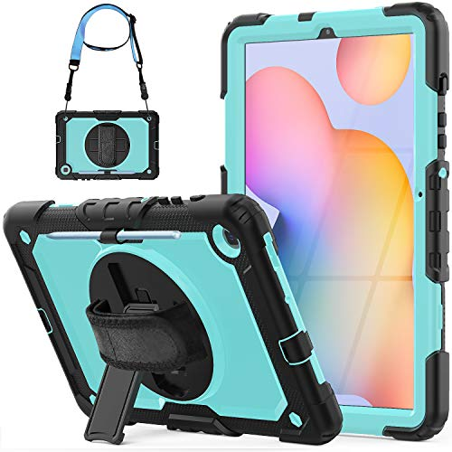 SEYMCY Case for Galaxy Tab S6 Lite 10.4 inch 2020 (SM-P610/P615), Full Protection 360 Rotating Stand Case with Screen Protector/Hand Strap, Cover for Samsung Tab S6 Lite 10.4'' 2020, Black/Sky Blue