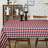 Urban Villa - Buffalo Check - Red/Blue/White Color - Table Cloth - 100% Cotton - Size 60 by 102 Inches - Seats 8 to 10 People - Perfect For Everyday Use or Family Dinners or Indoor or Outdoor Parties