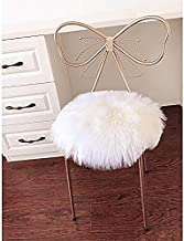 LOCHAS Super Soft Round Seat Cushion Faux Fur Sheepskin Chair Cover Pad Plush Rugs for Living Bedroom Sofa Couch, 18''x18'' White