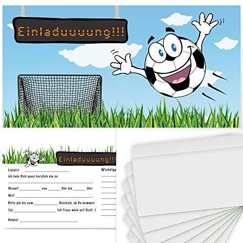 Postkartenschmiede 12 tarjetas de invitación para cumpleaños infantiles, diseño de fútbol