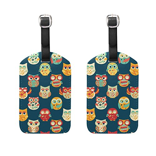 COOSUN Owls Pattern Luggage Tags Travel Labels Tag Name Card Holder for Baggage Suitcase Bag Backpacks, 2 PCS