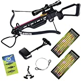 150 lb Black/Wood/Camouflage Hunting Crossbow Archery Bow + 4x20 Scope +7 Arrows + Rope Cocking Device 180 80 50 lbs