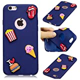 HongYong Cover per iPhone 6 Plus, 3D Patatine Fritte e Hamburger Ultra Sottile Morbido TPU Silicone Custodia Antiurto Protettiva Copertura Flessibile Gomma Gel Back Cover per Apple iPhone 6s Plus