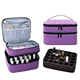 OSPUORT Portable Nail Polish Carrying Case, Holds 30 Bottles, Double Layer Design Nail Polish Holder, Professional Travel Organizer Bag for Nail Varnish and Manicure Set (Purple)
