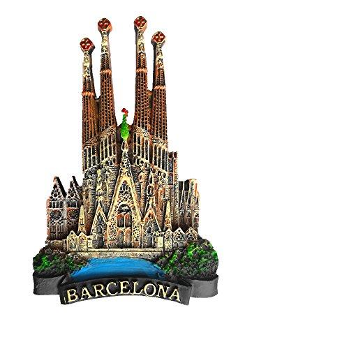 Imán de nevera Jian Ai 3D de Barcelona (España) para recuerdo de Barcelona o decoración del hogar y la cocina