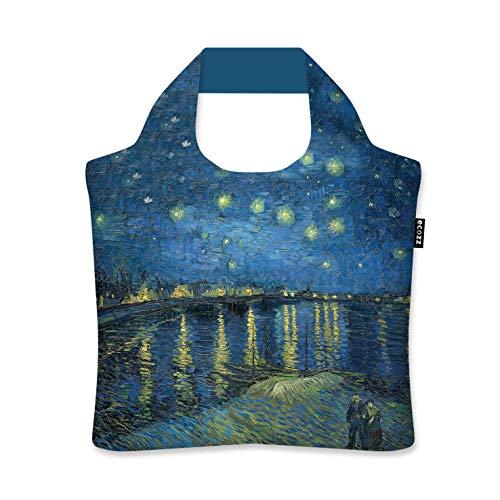 ecozz Starry Night Over the Rhône - Vincent Van Gogh, rPET, faltbar, Einkaufstasche mit Reißverschluss, Wiederverwendbar, Tragetasche, Handtasche, Tote, Strandtasche, Umweltfreundlich, Einkaufsbeutel,