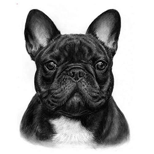 JUSSM Full Diamond Painting Cross Stitch French Bulldog pet 5D DIY Diamond Embroidery Mosaic Rhinestones Animal White Black art-70x70cm