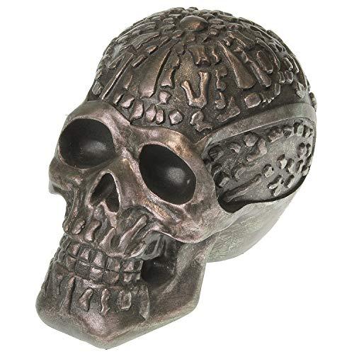 MACOSA LC190054 Decoración de cabeza de plástico negro cobre Steampunk Diseño de cráneo de decoración industrial Figura de calavera decorativa Calavera