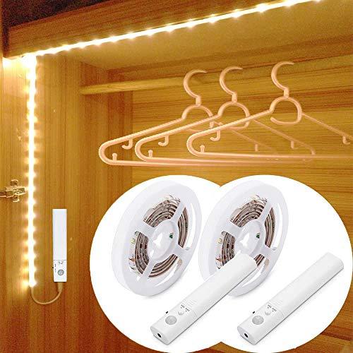 2pack LED Strip Batteriebetrieben Bewegungsmelder 1.5M, 3000K Warmweiß LED Band Batteriebetrieben Bewegungsmelder für Kleiderschrank, Schrank
