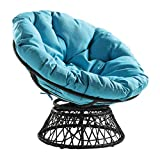 OSP Home Furnishings Wicker Papasan Chair with 360-Degree Swivel, Grey Frame with Blue Cushion