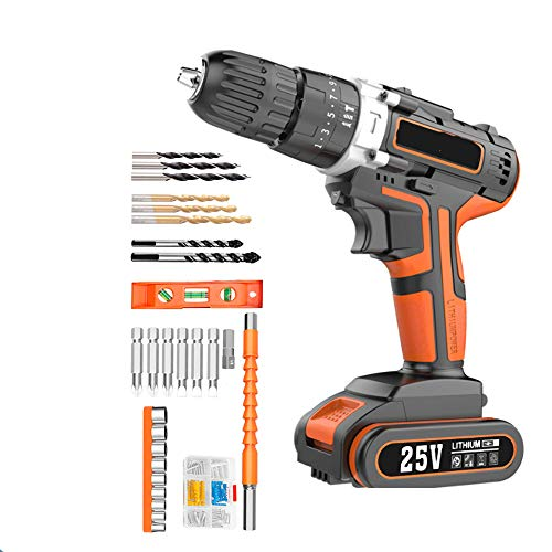 XDXDO Combined Cordless Impact Drill Electric Screwdriver with 2 Sets of 2.0Ah Batteries And 69 Accessories, 25+1 Variable Speed Adjustment, Suitable for Furniture Drilling