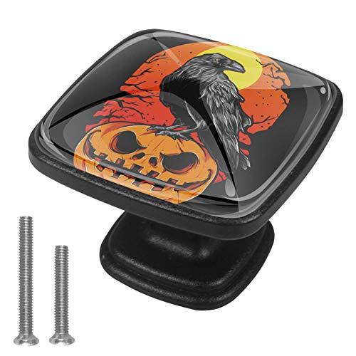 Manija del Armario Calabaza de Cuervo de Halloween Tiradores de cajones de Cocina Tirador de Puerta Tiradores para Muebles Tiradores de Hardware para guardarropa 3x2.1x2 cm