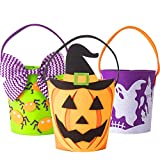 KI Store Trick or Treat Bags Halloween Candy Buckets Baskets Totes Gift Bags for Toddlers Kids Girls Boys Spooky Ghost Spider Pumpkin Set of 3
