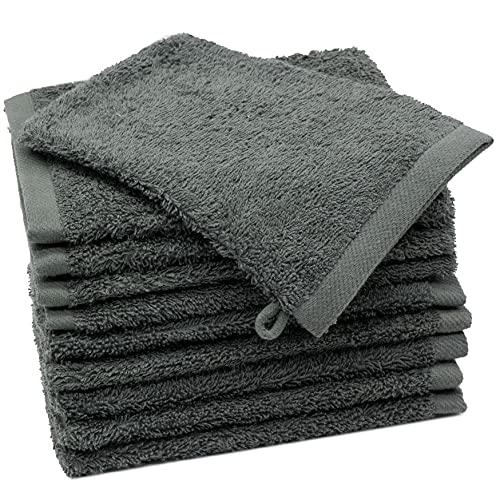 ZOLLNER 10er Set Waschhandschuhe 100% Baumwolle, 500 g/qm, ca. 17x21 cm, grau