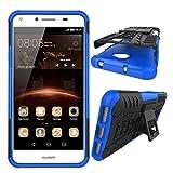 XINYUNEW Funda Huawei Y5 II 2016, 360 Grados Protective+Pantalla de Vidrio Templado Caso Carcasa Case Cover Skin móviles telefonía Carcasas Fundas para Huawei Y5 II 2016-Azul