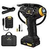 Tire Inflator Air Compressor, 20V Cordless Tire Pump with Digital Pressure Gauge, AUTO-OFF Function, 12V Car Power Adapter for Car Tires, Bicycle, Motorcycle, Balls, C P CHANTPOWER
