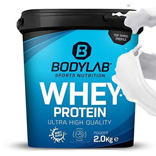 Protein-Pulver Bodylab24 Whey Protein Neutral 2kg / Protein-Shake für Kraftsport & Fitness / Whey-Pulver kann den Muskelaufbau unterstützen / Hochwertiges Eiweiss-Pulver mit 80% Eiweiß / Aspartamfrei