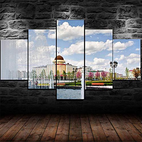 IIIUHU 5 Piezas Cuadro sobre Lienzo De Fotos Azulejo del Horizonte de la Ciudad de Dubai Burj Khalifa Lienzo Impresión Cuadros Decoracion Salon Grandes Cuadros para Dormitorios Modernos Mural Pared