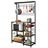 X-cosrack Kitchen Baker's Rack, 68inch Microwave Oven Stand with Pull-Out Wire Basket, 8 Hooks + 15 S Hooks,3 Tier + 4 Tier Utility Storage Shelf with Mesh Panels for Utensils, Pots, Pans, Spices