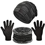 heekpek quadrato adulto tre pezzi cappello invernale da uomo, cappello a maglia, guanti sciarpa,guanti da cappello per sciarpe da uomo caldi all'aperto (nero)