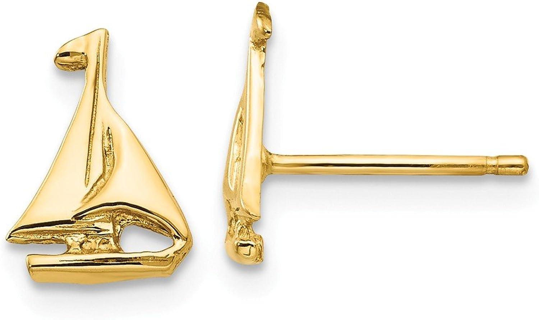 Beautiful Yellow gold 14K Yellowgold 14k Sail Boat Earrings