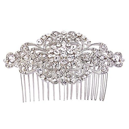 EVER FAITH Damen Österreichische Kristall Vintage Stil Elegant Blume Knot Haarkamm Klar Silber-Ton