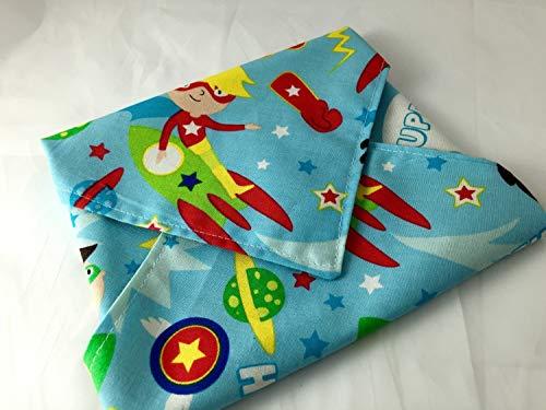 Reusable Sandwich Wrap - Super Kids Super Heroes Space Blue