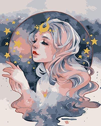 Amrzxz DIY-Chica Bonita Pintura DIY por números, Regalo Digital para Pintura al óleo DIY sobre Lienzo(sin Marco) 40x50cm