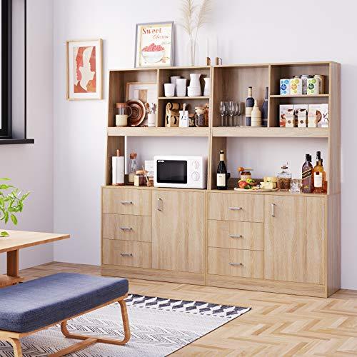Homfa 2er Set Küchenschrank Sideboard aus Holz, Hochschrank Highboard Kommode Büffet mit 1 Tür und 3 Schubladen für Küche Esszimmer Wohnzimmer 171x38x100 cm