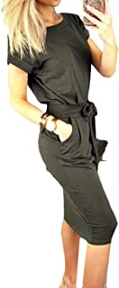 UUYUK-Women Pocket Collar Stylish Tie Crew Neck Solid Dress