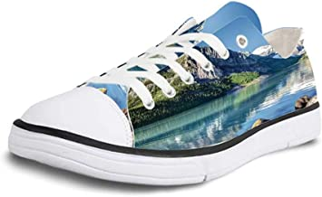Canvas Sneaker Low Top Shoes,Lake House Decor Lake Louise in Banff National Park Canada Lakeside Rocks Clear Water Scenic Picture