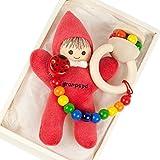 出産祝い ベビーギフト granpapa(グランパパ) ベビーぬいぐるみ 木のラトル おもちゃホルダー リサちゃんと天使のささやきのセット ギフトセット レッド 赤