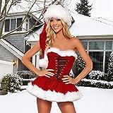 Mirabellinifred Disfraz sexy rojo para adultos, maquillaje, cosplay y sombrero, disfraz de Navidad, Halloween, talla grande, adecuado para adultos y mujeres