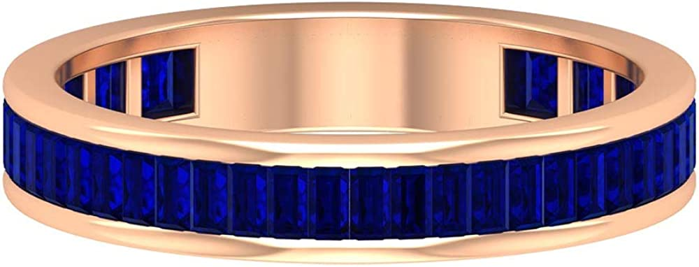1.25X2.2 MM Baguette Cut trend rank Lab Created Full Et Max 40% OFF Sapphire Blue Band