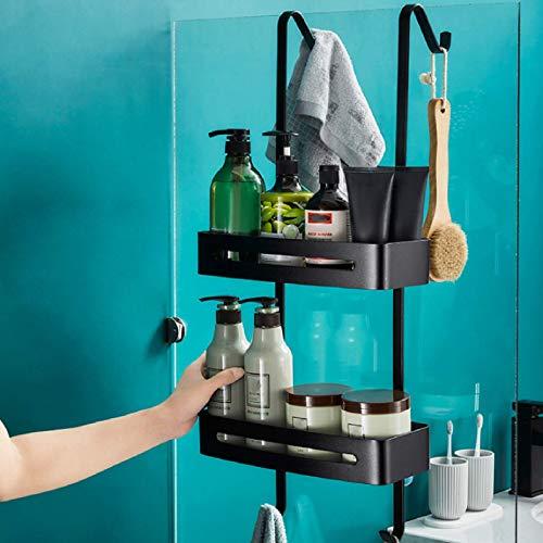 PaNt 2 Strati Portaoggetti Doccia Alluminio Porta Shampoo Doccia Mensola Doccia da Appendere, Nessuna Perforazione, Gancio Tipo S con Ventosa, per Bagno Cucina Organizer Ordinato(Nero Opaco)
