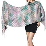 Bufanda de mantón Mujer Chales para, Bufanda cálida de invierno de mosaico azul rosa para mujer Bufandas de abrigo de chal de cachemira suave grande y largo a la moda
