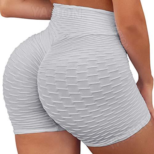 Pantalones cortos YASION para levantamiento de glúteos, talle alto, con textura rugosa, para levantamiento de glúteos, gimnasio, entrenamiento, correr, yoga, para mujer - - Large