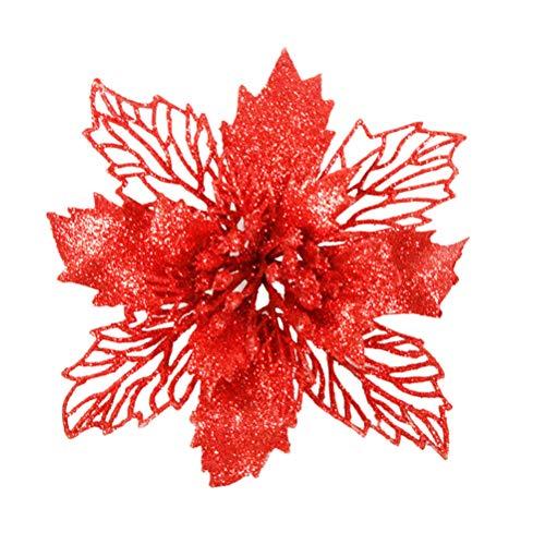 Vosarea 6 pcs Artificielle Fleurs De Poinsettia Glitter Creux Noël Ornements Floraux Décor À La Maison pour Arbre De Noël Fenêtre Porte
