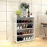 LLLKKK Zapatero simple de madera maciza europea multicapa, resistente al polvo, multifuncional, blanco, zapatero sencillo, moderno, para el hogar, tamaño grande, 64 x 24 x 51 cm, 64 x 24 x 51 cm