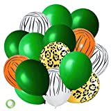 Jungle Theme Party Balloons 50 Pack, Jungle Safari Animal Print Balloons,12 Inches Green Latex Balloons for Baby Shower, Tropical, Birthday Party Decorations