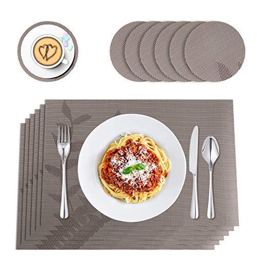 Karanice Juego de 6 manteles individuales de 45 x 30 cm con posavasos de cristal de PVC para cocina, hogar, restaurante, mesa de comedor (marrón)