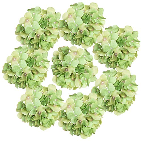 Artificial Green Flower Hydrangea Heads, Silk Fake Large Single Hydrangeas Tops for Floral Wreath, Mantel, Arch or Table, Home & Wall Décor Bridal Arrangements, Wedding, 8 Pcs