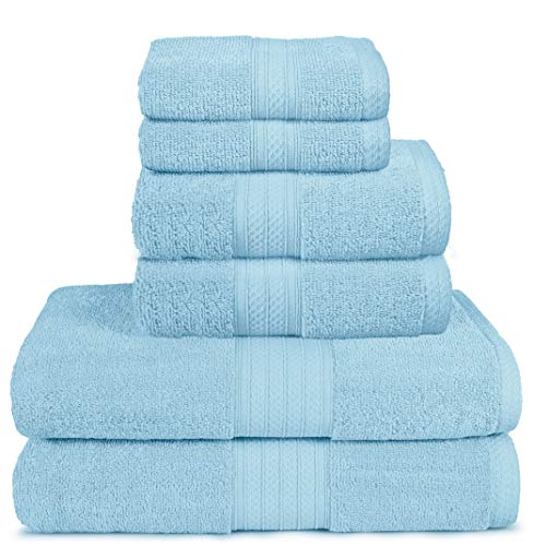 Glamburg 6 Piece Towel Set, 100% Combed Cotton - 2 Bath Towels, 2 Hand Towels, 2 Wash Cloths - 600 GSM Luxury Hotel Quality Ultra Soft Highly Absorbent Towel Set for Bathroom - Royal Blue