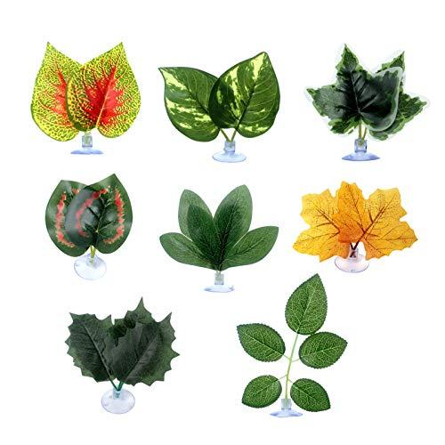 XPT 8 plantas artificiales para pecera, almohadilla de hojas de pescado, hamaca de descanso, simulación de plantas, pecera, decoración ornamental