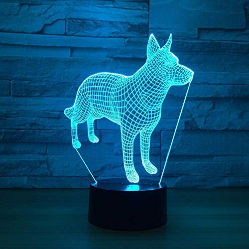 Lámpara de mesa 3D para mascotas, 3D, luz nocturna, USB, 7 colores, cambia USB, 3D, iluminación de ilusión para salón, lámpara decorativa