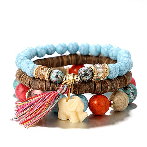 Honey Bean Bohemian Elephant Tassels Stackable Eemperament Beaded BraceletMulti-Functional Multi-Layer Personality Bracelet for Men and Women Elephant White Men and Women Bracelet Set color