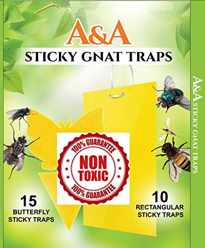 A.S.A Indoor/Outdoor Sticky Gnat Trap Bug Fruit Fly Traps&Zapper, ONE of A Kind 25 Pack, for House Plant or Garden Strips, Nontoxic Insect Paper Trap Catcher, Guaranteed