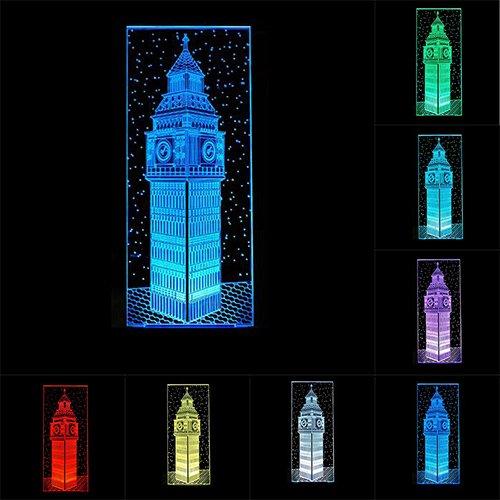 RUMOCOVO Decoración De Dormitorio Cama 3D Big Ben Luz De Noche Visual Colorido Londres Edificio Elisabeth Torre Lámpara De Mesa Bebé Dormir Iluminación Navidad Regalo