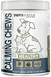 Paws & Pals Dog Calming Treats: Pet Anti Anxiety Supplement for Dogs & Cats with Melatonin, Chamomile & Ginger - Natural Stress Relief & Calm Composure Aid for an Anxious Dog or Cat - 180 Soft Chews