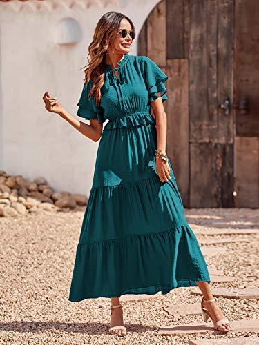 PRETTYGARDEN Women's Bohemian Sleeveless Maxi Dresses Square Neck Backless Ruffle Hem Long Dress (Malachite Green, Small)